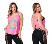 Babes Waves Zumba Open Back Tank Pink